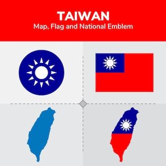 Mappa di taiwan, bandiera e emblema nazionale