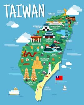 Mappa di taiwan con il design dell'illustrazione dei punti di riferimento colorfaul