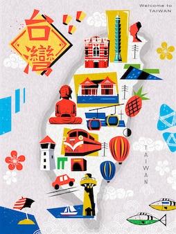 Mappa di viaggio di taiwan, con parole cinesi che scrivono taiwan sul wop a sinistra e the redhouse sull'edificio rosso