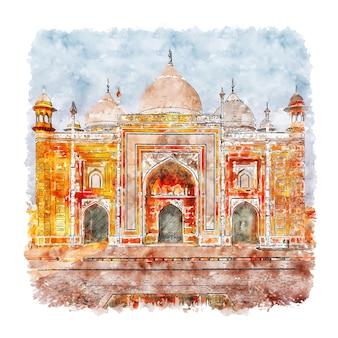 Taj mahal agra city india acquerello schizzo disegnato a mano