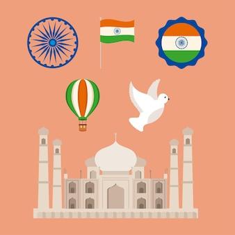 Taj mahal e felice insieme di elementi del giorno dell'indipendenza dell'india
