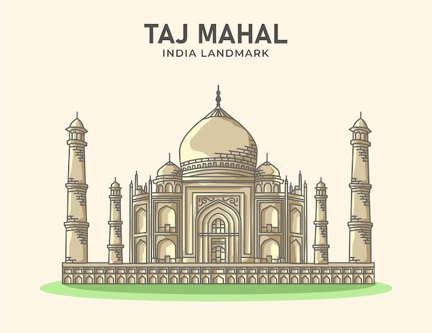 Taj mahal india punto di riferimento minimalista illustrazione