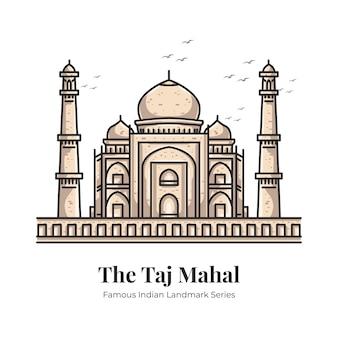 Illustrazione iconica del fumetto del punto di riferimento indiano del taj mahal