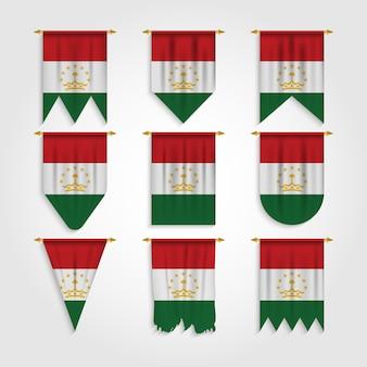 Bandiera del tagikistan in diverse forme, bandiera del tagikistan in varie forme