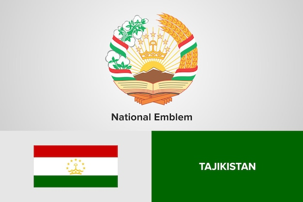 Modello di bandiera nazionale dell'emblema del tagikistan