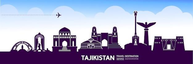 Illustrazione della destinazione di viaggio del tagikistan.