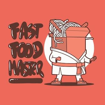 Porta via il personaggio della scatola del cibo. consegna, fast food, concetto di design cinese