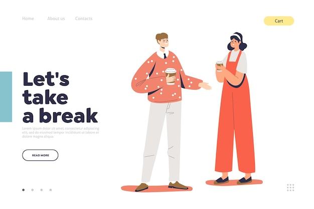 Fai una pausa concetto di pagina di destinazione con una giovane coppia che tiene il caffè
