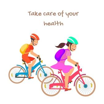 Prenditi cura della salute motiva il banner con i ciclisti