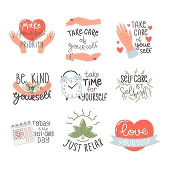 Prenditi cura di te stesso, prenditi del tempo per te stesso, renditi una priorità. set di citazione di motivazione.