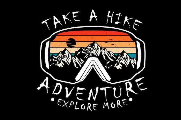 Fai un'avventura escursione esplora più design silhouette