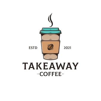 Modello di logo di caffè da asporto isolato su bianco