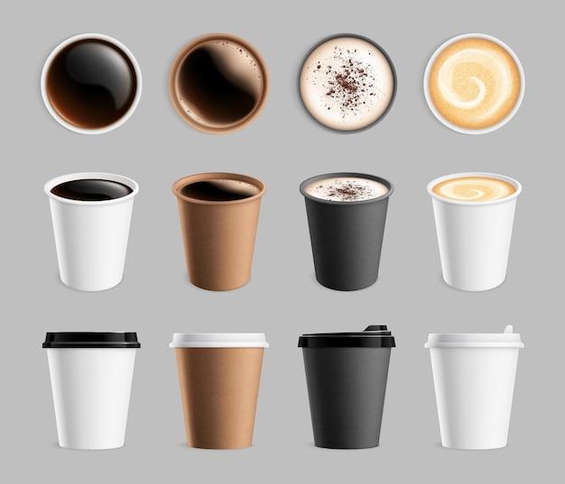 Modello di caffè da asporto. bicchiere di carta in plastica per liquidi e bevande da asporto. tazza del cappuccino del latte del caffè espresso, illustrazione di vettore delle bevande della prima colazione. bevanda espresso, cappuccino fresco aroma