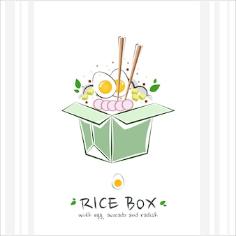 Scatola di riso da asporto con uovo di avocado e ravanello illustrazione
