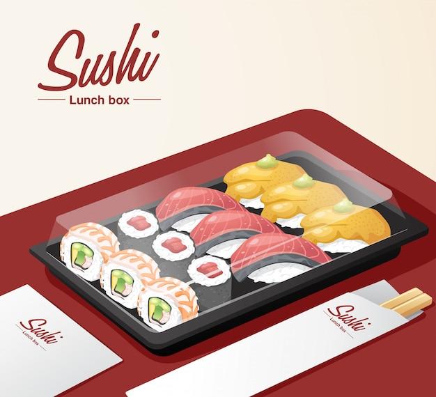 I sushi da asporto hanno messo con il vassoio, le bacchette ed il tovagliolo sulla tabella rossa Vettore Premium