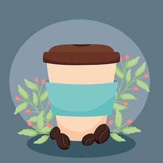 Caffè da asporto con piante