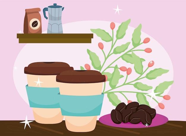 Caffè da asporto con pianta