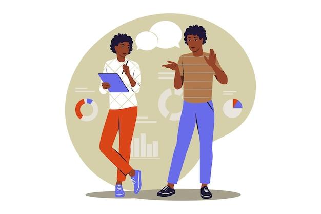 Prendere appunti concetto. donna africana che prende appunti. illustrazione vettoriale. appartamento.
