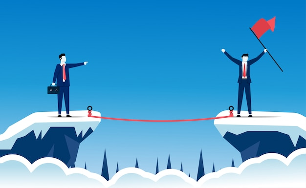 Assumersi il rischio di essere il concetto di successo. i personaggi degli uomini d'affari stanno agendo e sfidano per ottenere un grande successo negli affari e nel percorso di carriera.