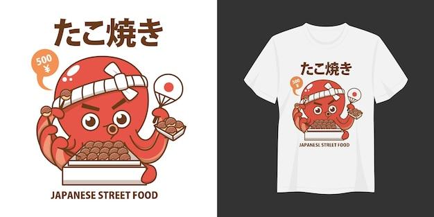 Tshirt e abbigliamento takoyaki alla moda design tipografia stampa illustrazione vettoriale