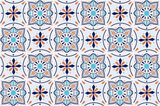Modello senza cuciture di talavera. stoviglie in ceramica, stampa popolare. azulejos portogallo. ornamento turco. mosaico di piastrelle marocchine. porcellana spagnola. ceramica spagnola.