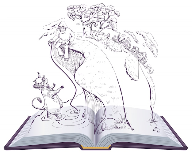 Racconto di sacerdote e del suo operaio balda. fiaba alexander pushkin dell'illustrazione del libro aperto