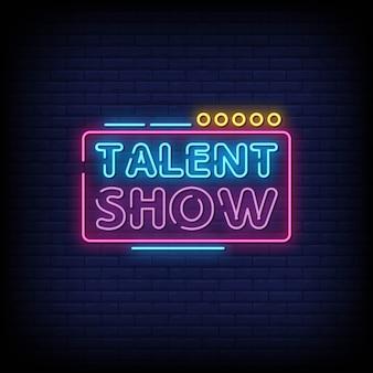 Talent show insegne al neon in stile testo