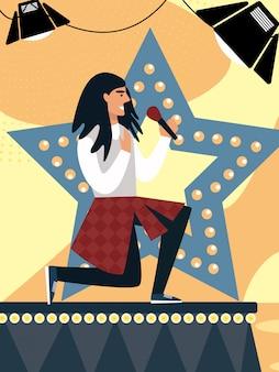 Partecipante al talent show con microfono sul palco