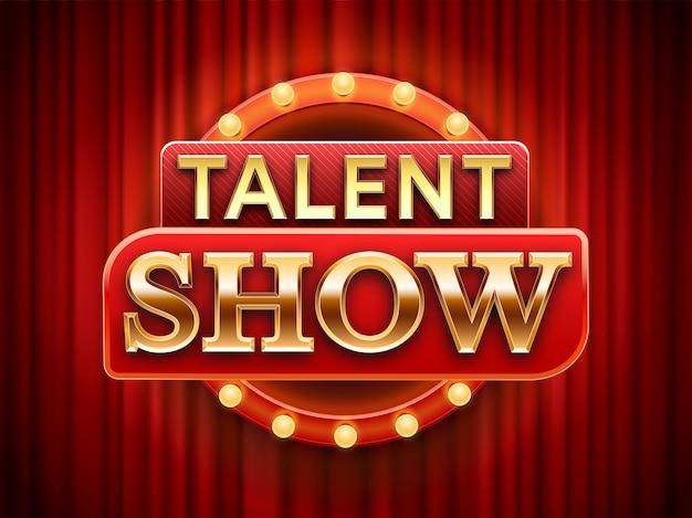 Talent show sign. insegna di talento della fase, tende rosse della scena delle nevi ed illustrazione del manifesto dell'invito di evento
