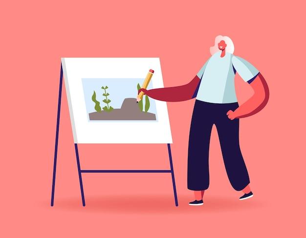 Artista di talento personaggio femminile con supporto per matita davanti al cavalletto dipinto su tela paesaggio subacqueo