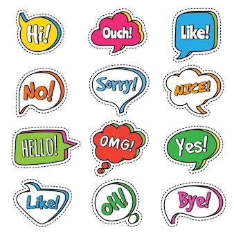 Frase di conversazione. bolle di discorso con testo di dialogo di parole sì, omg,