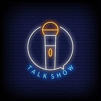 Talk show logo insegne al neon in stile testo