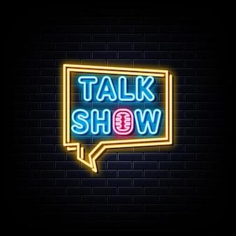 Simbolo al neon dell'insegna al neon del talk show