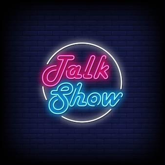 Talk show insegne al neon in stile testo vettore