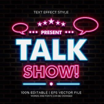 Talk show neon effetto testo
