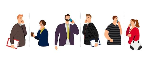 Parlando al telefono. conversazione mobile di uomini donne.