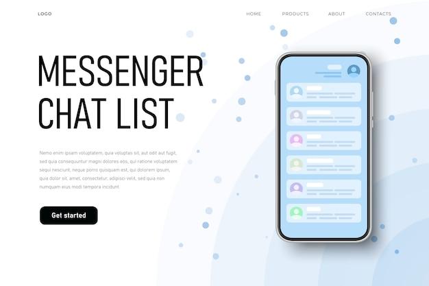 Schermata di conversazione, elenco chat di messenger con elenco dei contatti.