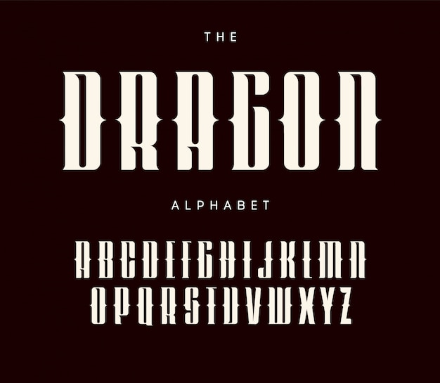 Lettere alte e audaci con serbi e ritagli. design tipografico in stile tatuaggio.