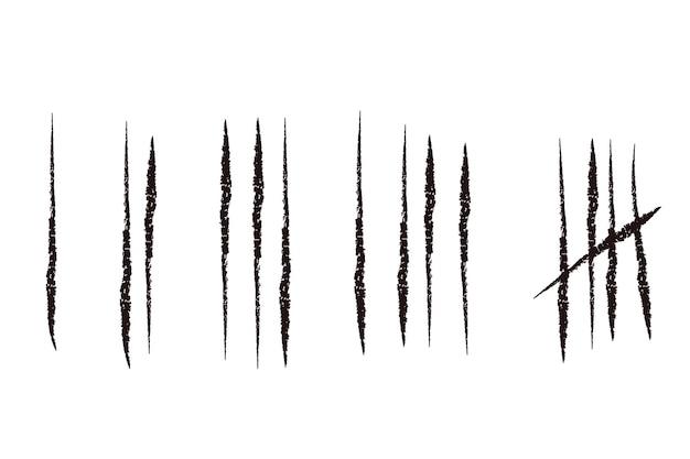 Il conteggio segna linee o bastoni disegnati a mano isolati su bianco