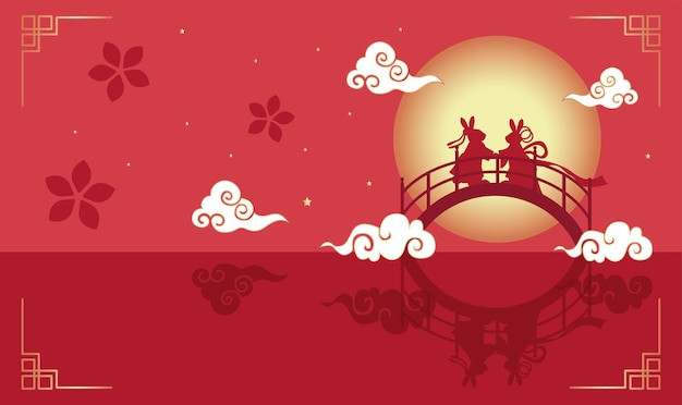 Festival di tanabata o festival di qixi. illustrazione vettoriale di simpatici conigli che simboleggiano l'incontro annuale del pastore e del tessitore. il giorno di san valentino cinese e il doppio settimo festival.