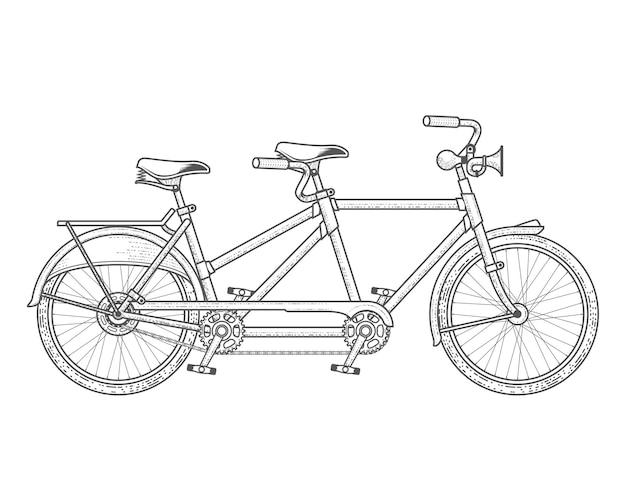 Bicicletta in tandem isolata su bianco
