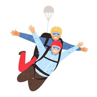 Lancio in paracadute in tandem. paracadutismo con istruttore e paracadutista eccitato, illustrazione di vettore del fumetto di addestramento professionale di paracadutismo