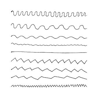 Scarabocchio astratto aggrovigliato con elementi doodle di linea disegnata a mano