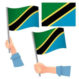 Bandiera della tanzania in mano insieme