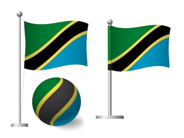 Bandiera della tanzania sull'icona palo e palla