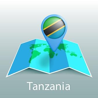 Tanzania bandiera mappa del mondo nel pin con il nome del paese su sfondo grigio