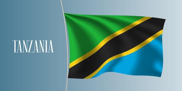 Tanzania sventolando bandiera illustrazione