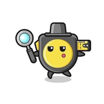 Personaggio dei cartoni animati con metro a nastro che cerca con una lente d'ingrandimento, design carino