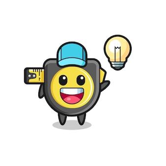 Fumetto del personaggio di metro a nastro che ottiene l'idea, design carino
