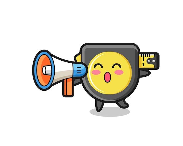 Illustrazione del carattere del metro a nastro che tiene un megafono, design carino